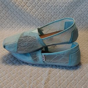 Tom's Baby Blue Lace Shoes Size 8.5W